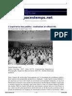 Cefaï. L'Expérience Des Publics. 2013