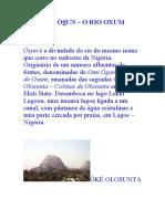 ODÒ ÒSUN – O RIO OXUM