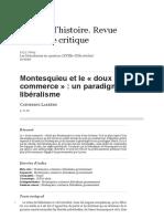 Larrère. Montesquieu Et Le 'Doux Commerce'. Un Paradigme Du Libéralisme