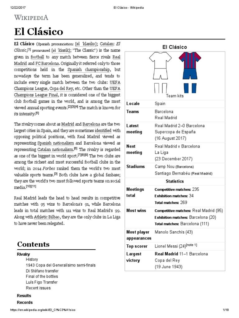 El Clásico - Wikipedia | Fc Barcelona | Real Madrid C.F.