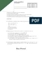 Prova Recuperativa de Geometria Analítica - Todos os conteúdos