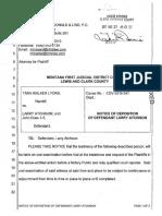 Notice of deposition of defendant Larry Atchison (3/29/17), Tara Walker Lyons v. Larry Atchison et al, case no. DV 2016-547, Lewis and Clark County, MT