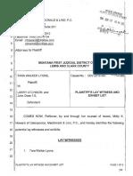 Plaintiff's lay witness and exhibit list (6/19/17), Tara Walker Lyons v. Larry Atchison et al, case no. DV 2016-547, Lewis and Clark County, MT