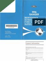 Maintenance Schedule Ford Ranger XLT Super Cab 1996