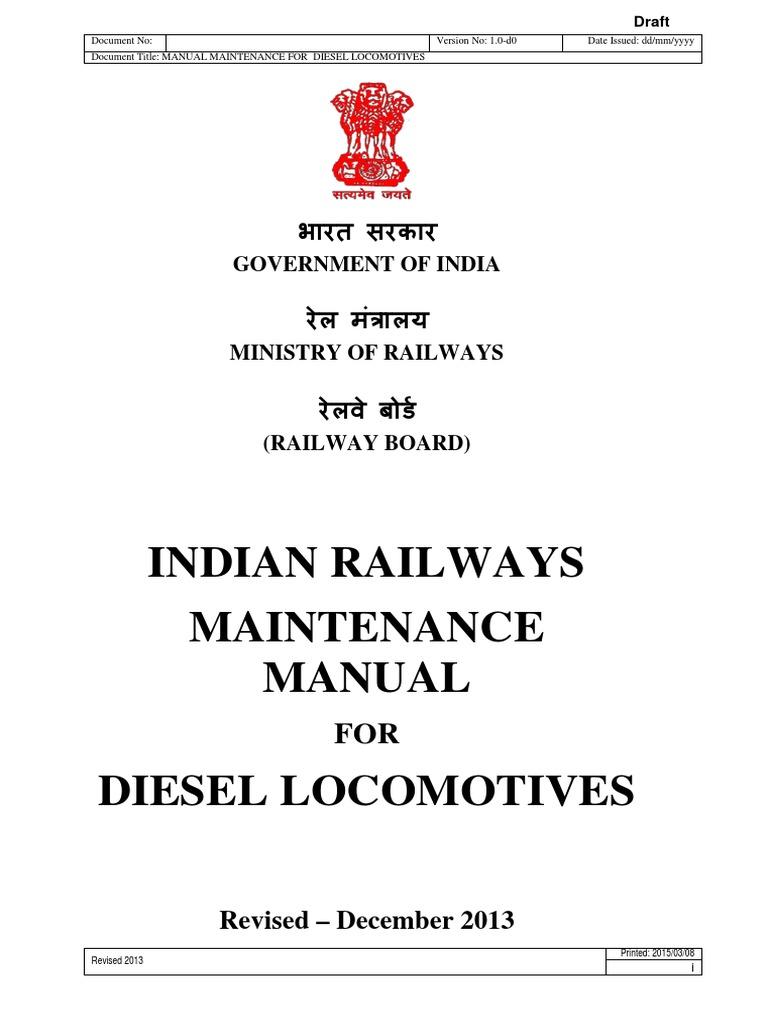 maintenance manual for diesel locomotives pdf transport technology rh scribd com Car Repair Manual Online Cessna MAINTEANCE Manual
