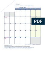 August 2018 Holiday Calendar