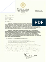 Utah Gov. Gary Herbert letter to Interior Secretary Ryan Zinke on NPS Fee Increase