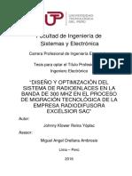 """""""Diseño y Optimización Del Sistema de Radioenlaces en La Banda de 300 Mhz en El Proceso de Migración Tecnológica de La Empresa Radiodifusora Excélsior Sac"""""""