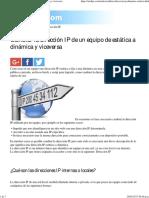 Como Cambiar Tu Dirección IP de Estática a Dinámica y Viceversa