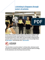 Political space shrinking in Singapore through 'creative repression' of activists.docx