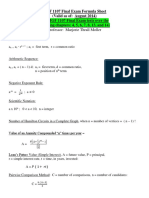 MGF 1107 Final Exam Formula Sheet Valid as of August 2014