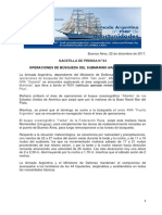 """GACETILLA DE PRENSA N°64 OPERACIONES DE BÚSQUEDA DEL SUBMARINO ARA """"SAN JUAN"""""""