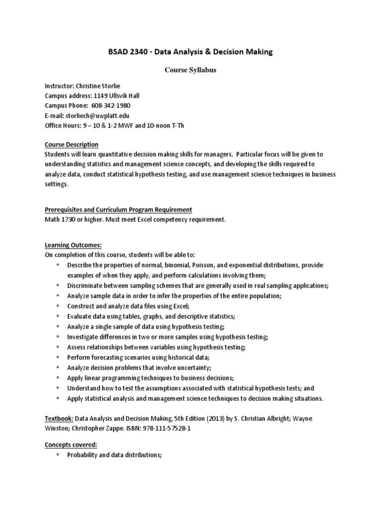 Storlie Bsad 2340 Data Analysis and Decision Making - Syllabus Sp14 (1)   Data  Analysis   Statistics
