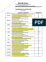 Apodoaa Calendar of Activities