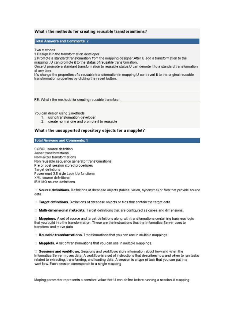 informatica questions