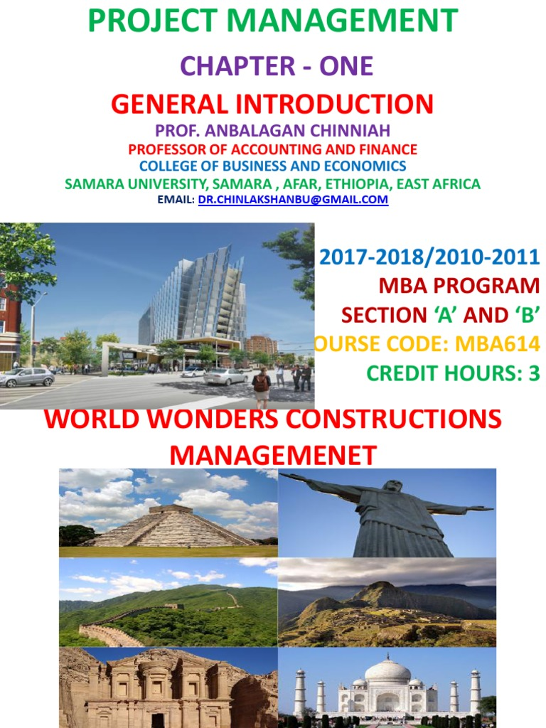Project Management Chapter-I 2017-2018 General Introduction by Prof