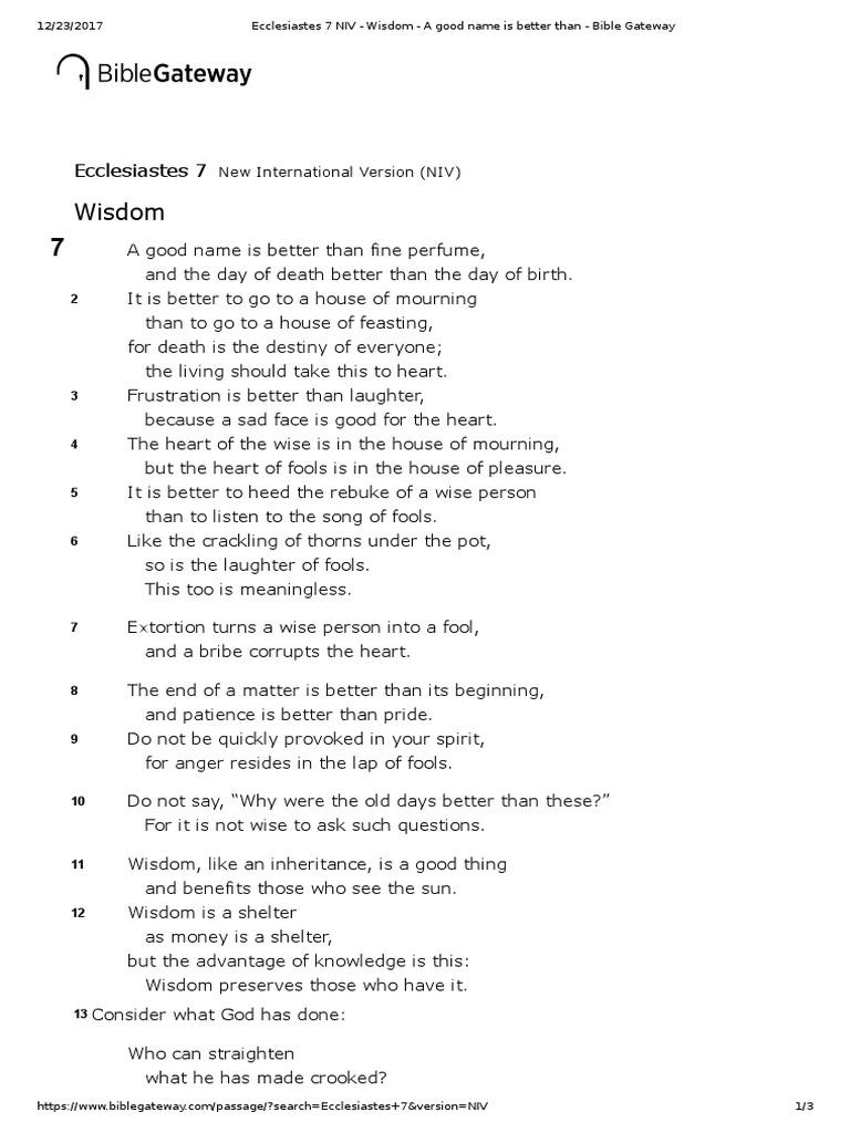 Ecclesiastes 7 NIV - Wisdom - A Good Name is Better Than