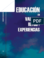 Educacion valores. Retos y experiencias