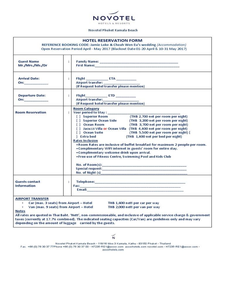 Reservation Form - Jamie & Cheah - Novotel Phuket Kamala Beach