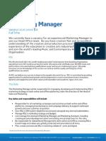 Marketing Manager Job Spec