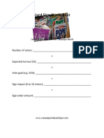 Yard sign worksheet--Determine how many lawn signs your campaign needs