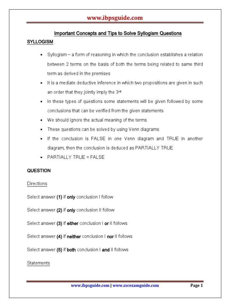 Important concepts and tips to solve syllogism questions logic important concepts and tips to solve syllogism questions logic philosophical methodology pooptronica