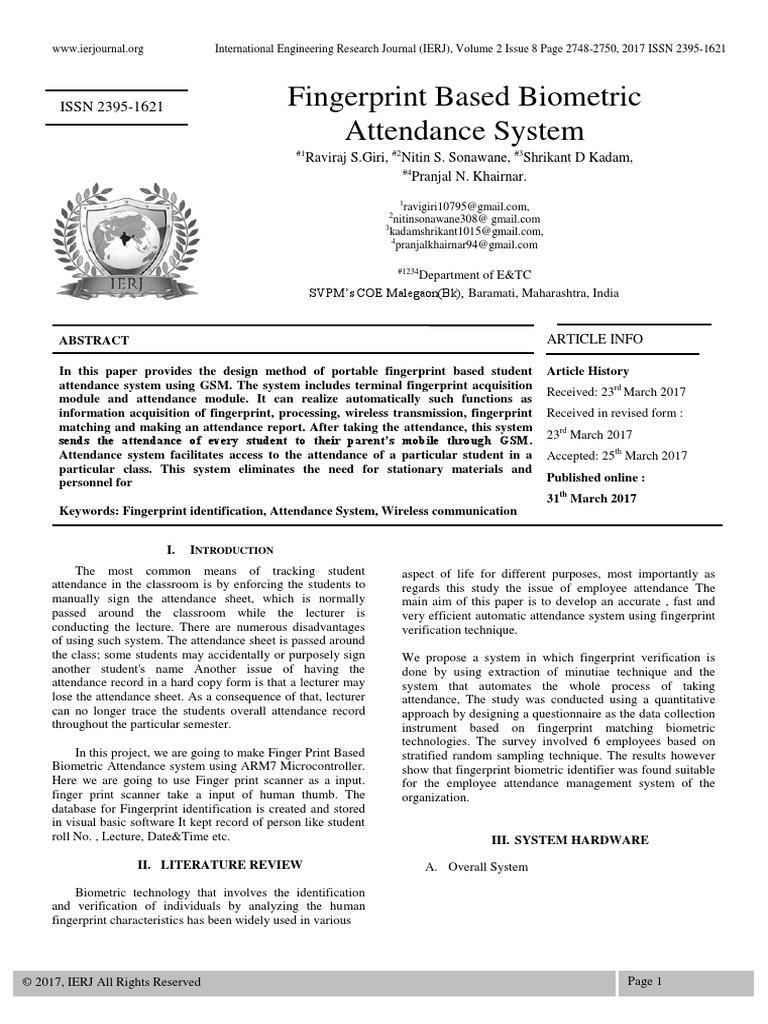 Fingerprint Based BiometricAttendance System | Fingerprint | Biometrics