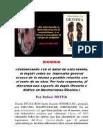 Reflexiones de Rafael Rattia Sobre La Novela Dionisia