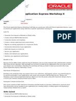 Oracle Application Express Workshop II