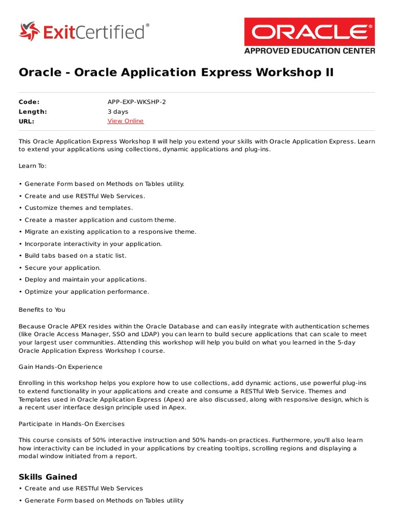 Oracle Application Express Workshop II | Representational