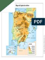 Mapa de España relieve