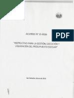 Instructivo Para La Gestión, Ejecución y Liquidación Del Presupuesto Escolar