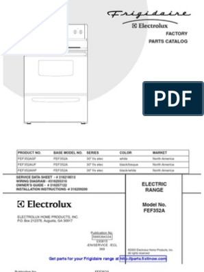 frigidaire range model fef352a parts and wiring diagrams ... frigidaire range wiring diagram  scribd
