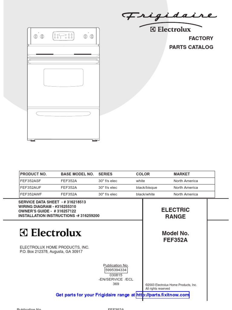 Frigidaire Range Model Fef352a Parts And Wiring Diagrams Electrolux Wall Oven Diagram