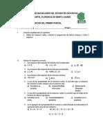 Examen de Recuperacion de Matematicas i Primer Parcial