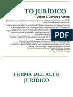 JOHAN CAMARGO ACOSTA - Forma del Acto Jurídico y Representación