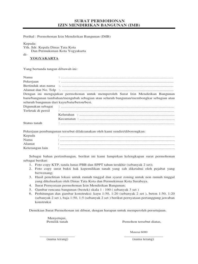 Surat Permohonan Imb