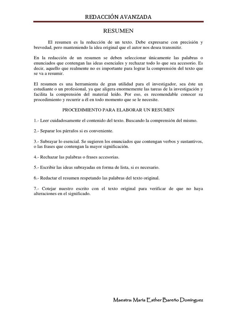 Características Del Resumen 1