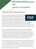 @@@Ref. Refuting Jihadism_ Can Jihad Be Reclaimed_ - By Rashad Ali Hannah Stuart