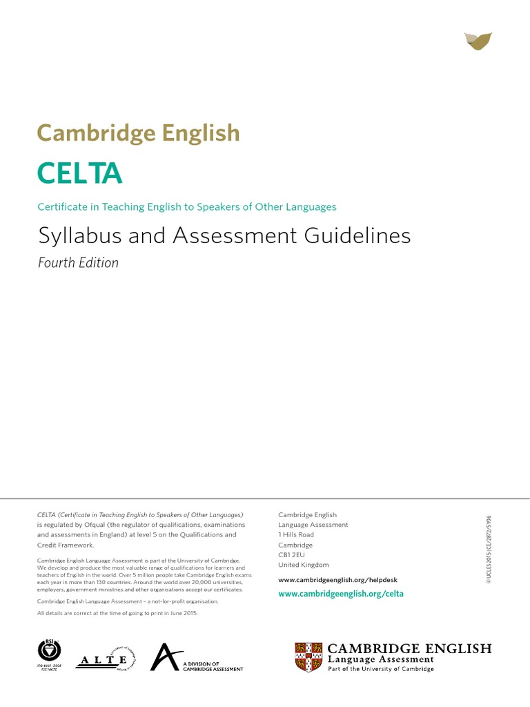 Celta Syllabus And Assessment Guidelines Educational Assessment
