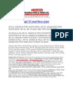 API 5l Seamless Pipe