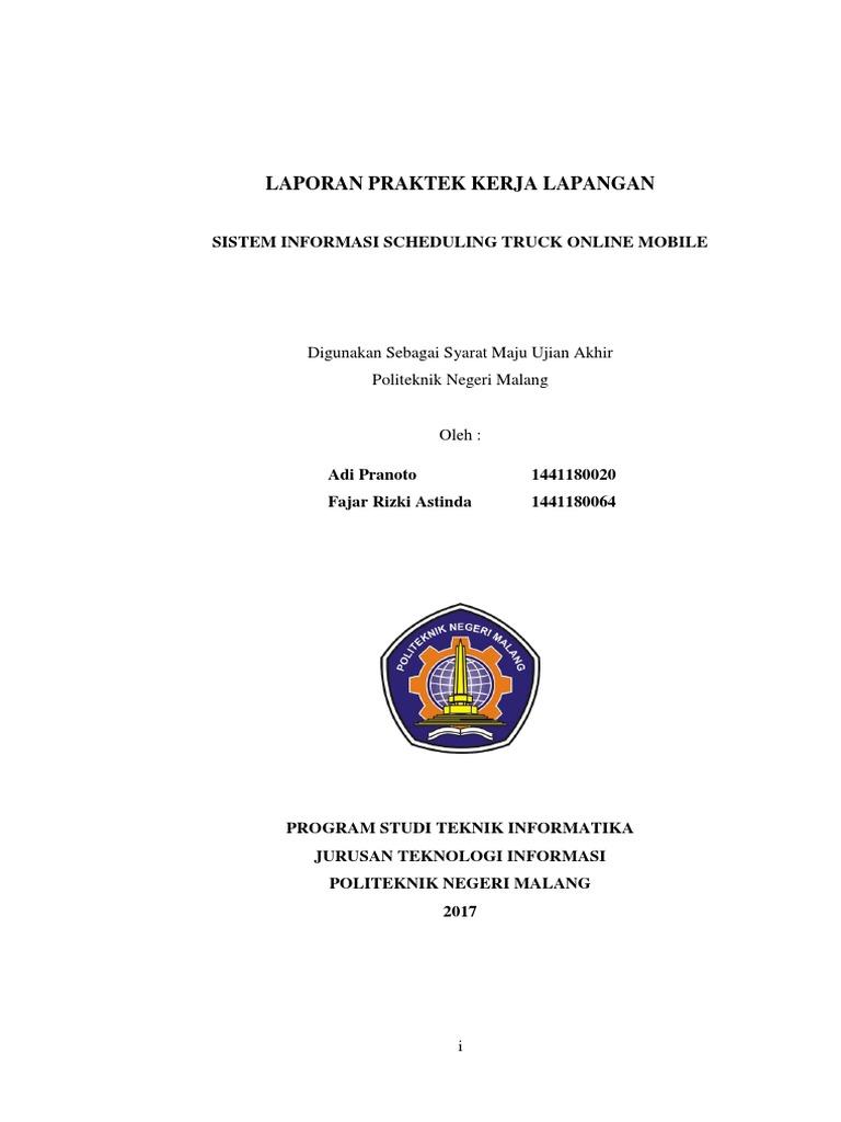 Contoh Laporan Pkl Jurusan Sistem Informasi Kumpulan Contoh Laporan
