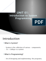 Unit I Introduction to System Programming