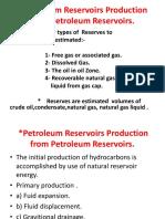 Petroleum Reservoirs Production From Petroleum Reservoirs
