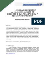 Sobre a Noção de Memória Metálica Em Análise do discurso