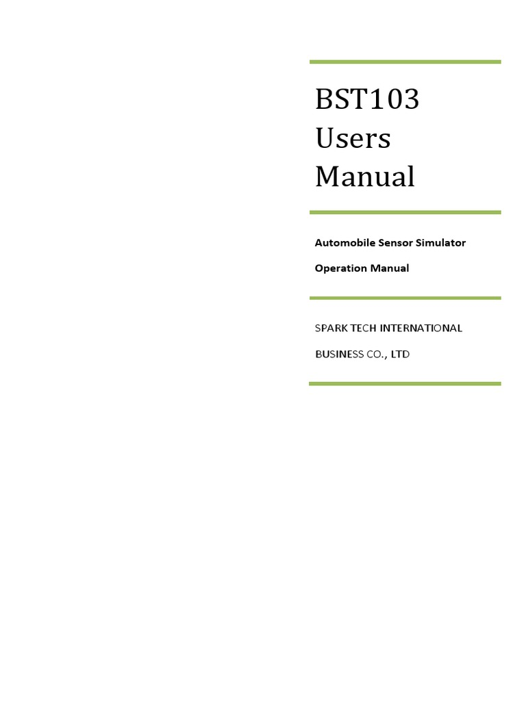 Bst103 Users Manual V12 Manufactured Goods Electrical Engineering Oxygen Sensor Simulator