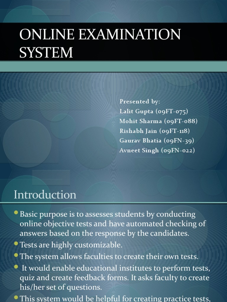 Online Examination System ,use case project