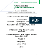 MECANICA DE SUELOS 2. ENSAYO DE CONSOLIDACION UNIDIMENSIONAL DE LOS SUELOS LAB N° 1