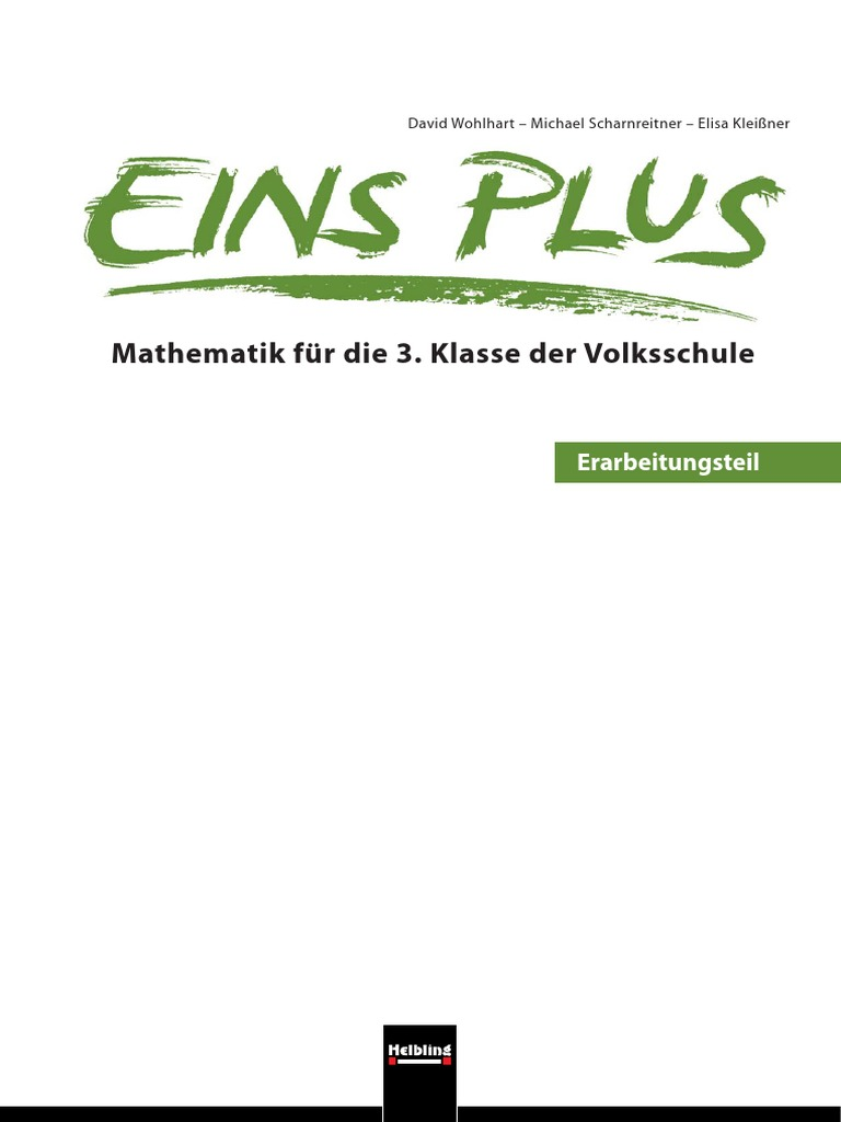 Eins Plus - Mathematik Für Die 3. Klasse Der Volksschule ...