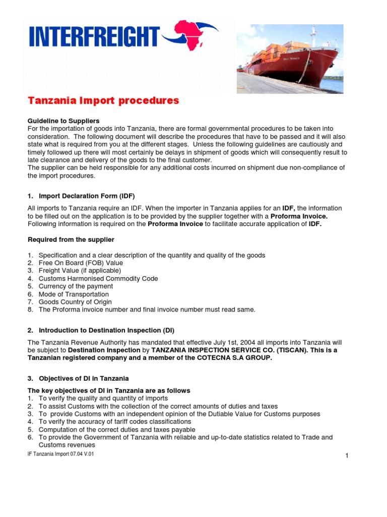 Tanzania Import Procedure | Invoice | Pro Forma